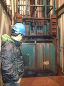 The chrysotile ore is transported from underground to the surface in this lift access