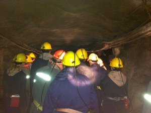 Visitors in the underground galleries of the mine