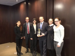 Goldcorp VP Brent Bergeron holding the trophy with the McGill mining team!